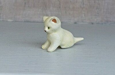 Hantel Victorian Pewter Miniature White Kitten  With Swing Tag And Certificate