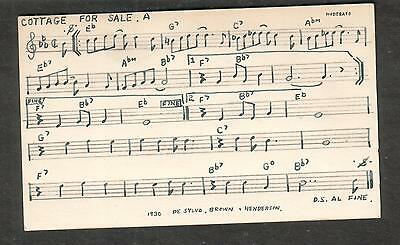 Tune-Dex performing rights info card- A Cottage For Sale- W Robison/De Sylvia
