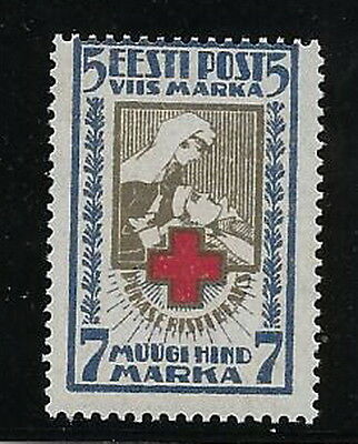 Estonia. 1921. Red X. 5 +7mk. SG32. mnh