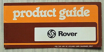 ROVER 2300, 2600 & 3500 Car Salesman's Training Product Guide Sept 1977