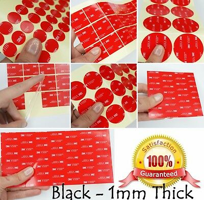 1mm Thick BLACK - 3M VHB Acrylic Foam Tape SQUARE & OBLONG - Double Sided Sticky