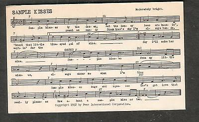 Tune-Dex performing rights info card- Sample Kisses- Arthur G Smith Helen Kaye