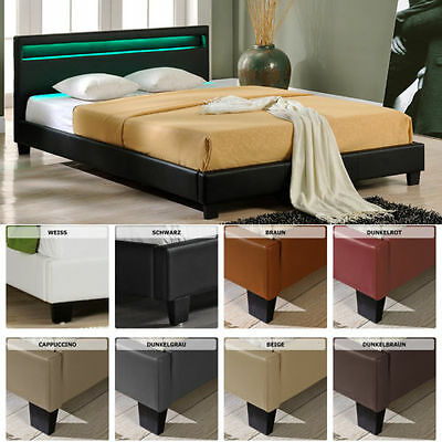 LED Upholstered Bed 140 160 180 200x200 cm Double bed Wedding Bed Frame