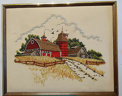 Vintage '70s Sunset Stitchery Needlepoint Embroidery Country Barn Farm  Framed