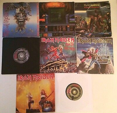 """Iron Maiden - 8 x 7"""" Singles Collection (inc Poster Sleeve) Metal Job Lot"""