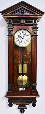 Antique 19thc Lenzkirch Mahogany 8 Day Twin Weight Vienna Regulator Wall Clock