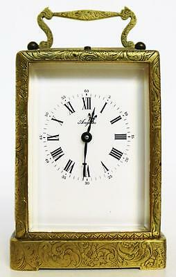 Superb Rare Antique French Brass Engraved 8 Day Repeater Carriage Clock Case