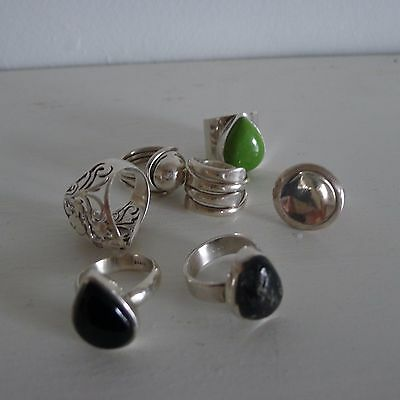 silver ring 925 collection apple turquoise obsidian job lot