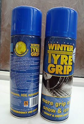 2 BIG CANS Winter Tyre chain 400ml Cans of Spray on Tyre Grip For Ice and Snow