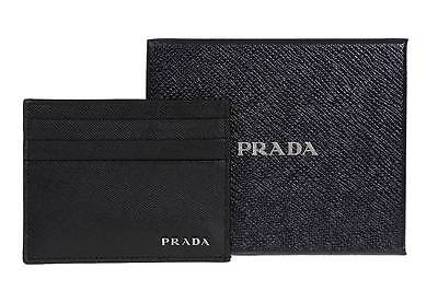 New Prada Milano Saffiano Leather Bicolor Logo Credit Card Id Holder Wallet