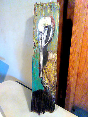 Rustic Pelican Chalk Painting Driftwood Beach House Nautical Decor Wall Plaque