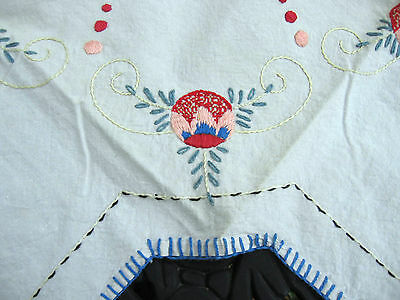 antique arts crafts mission era Christmas feather tree skirt table topper linen
