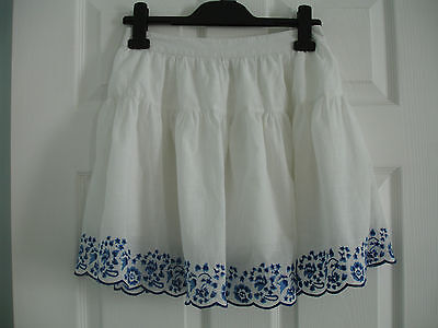 Girls' White Next 100% Cotton Skirt with Blue Embroidered Hem Size 10 Years