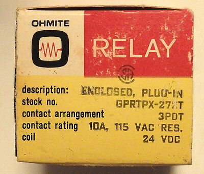 NEW Ohmite - GPRTPX-272T Enclosed Plug-In Relay, 3PDT, 10A, 115VAC, Coil: 24VDC