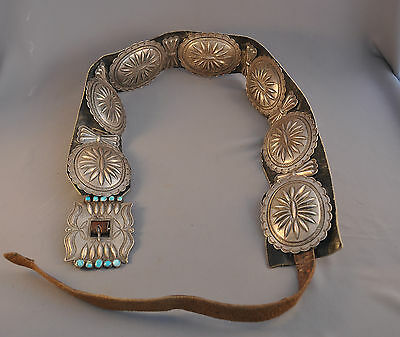 "Large Old Navajo Indian Heavy Silver Concho Belt Turquoise - 3"" Wide - 49"" Long"
