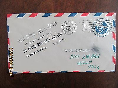 1930 Beaver Falls Pa 1St Pickup By Adams Non-Stop Method Airmail Cover