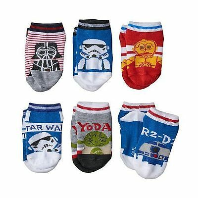 NEW Star Wars Toddler Socks - 6 Pair - Sizes 2T-4T, Shoe Size 4-7 FREE SHIPPING