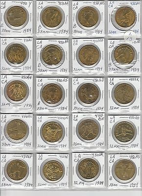 LOT OF 20 DIFFERENT VINTAGE TRANSIT TOKENS ALL FROM CALIFORNIA L13 as shown