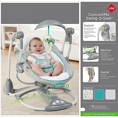 Baby Swing Portable Chair Swing-2-Seat Bouncer Combo Infant Toddler Rocker, NEW