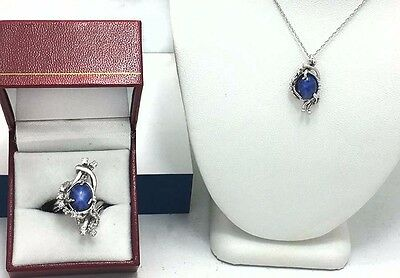 NATURAL STAR SAPPHIRE & DIAMONDS 14K Gold RING & Matching NECKLACE* Brand New *