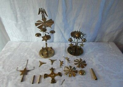 2 Antique Swedish Brass Christmas Candle Chimes w/Assorted Spare Parts 35+ Pcs.