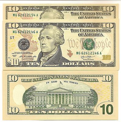 United States $10 Series 2013 Unc Note Grant Colored Flag Prefix Mg62612146-54A