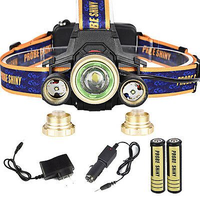 ZOOM 15000Lm Headlamp CREE XM-L 3 x T6 LED Rechargeable Head Light Torch Charger