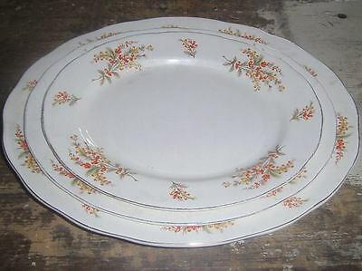 three platter plates, the largest is 35cm and smallest 27cm