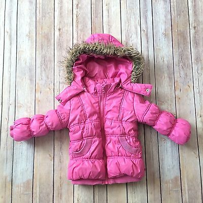 CHILDREN'S PLACE Toddler Girls Pink Hooded Puffy Coat, sz 24m