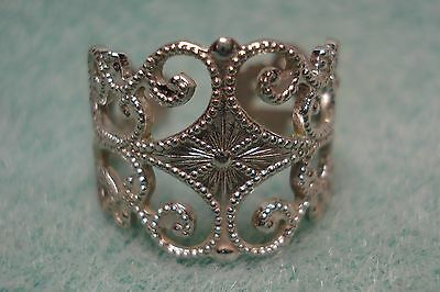 Vintage Sarah Coventry 1974 Silvery Lace Ring Adjustable