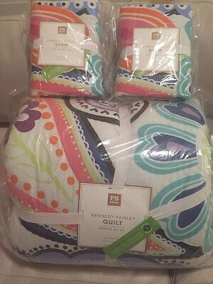 NWT Pottery Barn PB Teen Kennedy Paisley FQ quilt & 2 Standard shams full queen