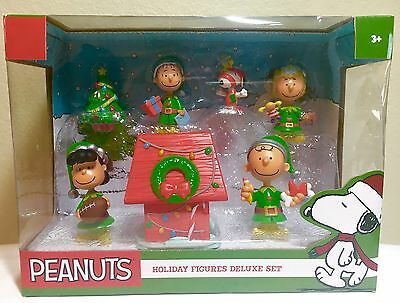 Peanuts Holiday Deluxe Figure Set Christmas 2015 Snoopy Charlie Brown Lucy NEW