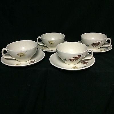 (4) Vintage Franciscan Gladding McBean Autumn Leaves Cups And Saucers Excellent