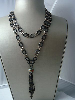 """Victorian Mourning Czech Glass Beaded 40"""" Tassel Fringed Necklace"""