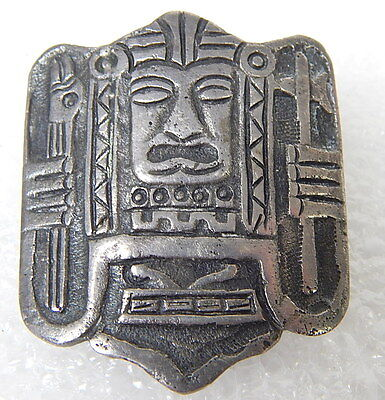 Inca Sterling Signed Antique Pre Columbian Peruvian Norte Chico Pin Brooch