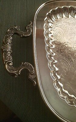 """Lg. Leonard Engraved Silver Plate Serving Tray  """"gorgeous  For The  Holidays"""""""