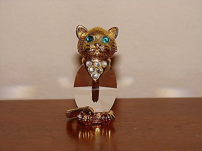Vintage Crystal & Gold Cat Figurine/Statue - Marked T - 1983