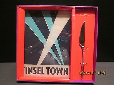 """Kate Spade Puttin on the Glitz """"Tinsel Town"""" Glass Cheese Board and Knife..NEW"""
