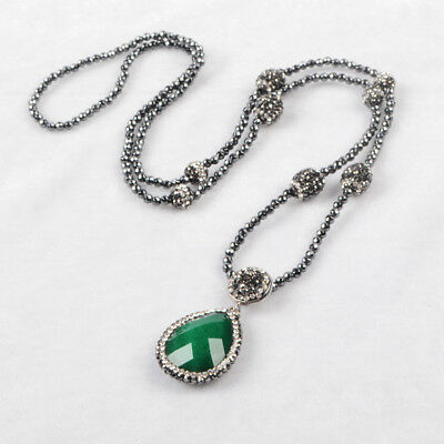 """3Pcs 30"""" Drop Green Jade Faceted Paved CZ Necklace With Black Beads Chain BJA396"""