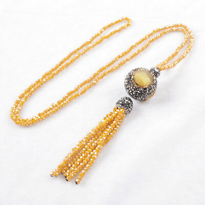 "3Pcs 28"" Cat's Eye Ball Pave CZ Necklace With Yellow Quartz Tassels Chain BJA399"