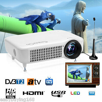 2000:1 Full HD 1080P 5500 Lumens LED Heimkino Beamer Projector DVB-T2 HDMI USB