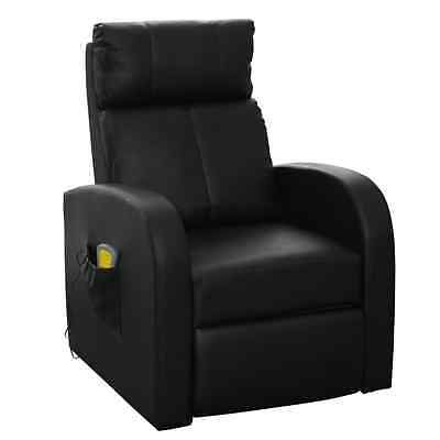 Electric Massage Chair Black Leather Wood Footrest Remote Recliner Office Home