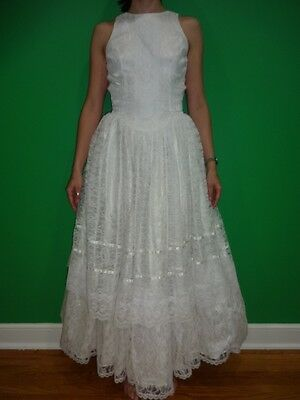 Vintage Tank White Bridal Dress Full Lace Skirt Bride Formal XS  0-2 Bohemian