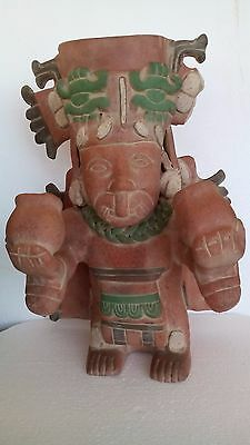 "Huge 16"" Antique Pre Columbian Mayan Pottery Statue Figurine Man Hold Bowls"