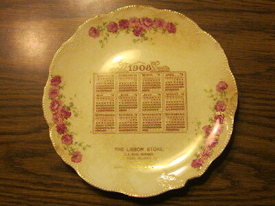 vintage 1908 Calendar Plate compliments of The Lisbon Store  - Milwaukee, WI -