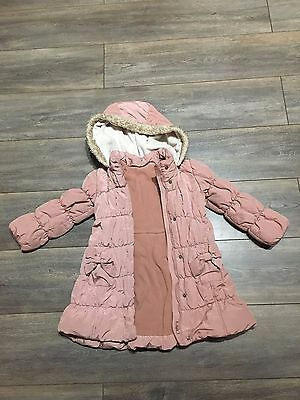 Girls winter coat 4-5 Years Matalan Pink with bow detail (zip sticks) see info