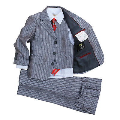 Boys Silver Wedding Tuxedo Page boy Suits Baby Formal Dress suit for Occasion