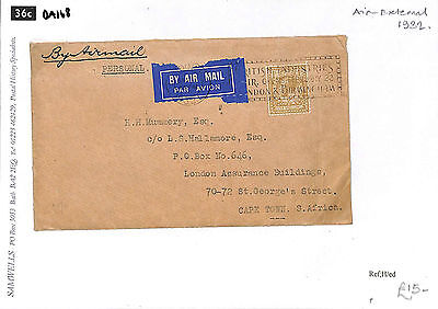 DA168 1932 GB London to South Africa Cape Twon Airmail Cover