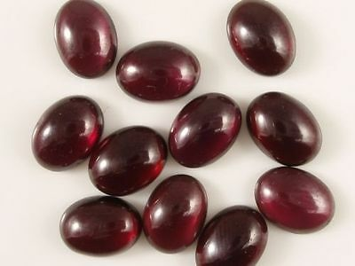4 PIECES OF 6x4mm OVAL CABOCHON-CUT NATURAL AFRICAN ALMANDITE GARNET GEMSTONES