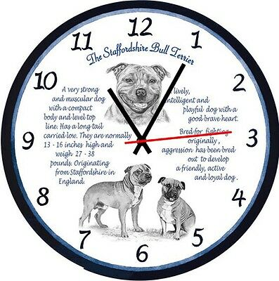 Staffordshire Bull Terrier  Origins & Facts Large  Gift Boxed  Wall Clock